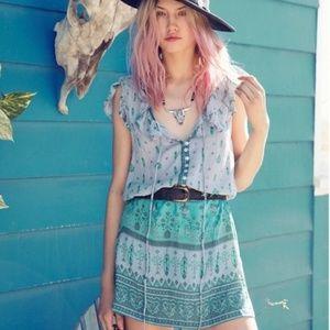 Spell RARE Desert Wanderer teal mini sun dress 6